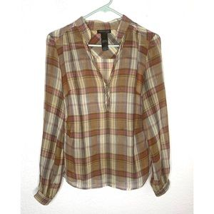 Kenneth Cole New York Size 2 Sheer Plaid Top